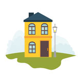 Exterior cute house icon Stock Photography