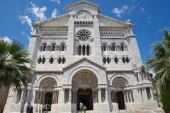 Exterior da catedral de Mônaco (Cathedrale de Mônaco) em Mônaco-Ville, Mônaco Imagem de Stock