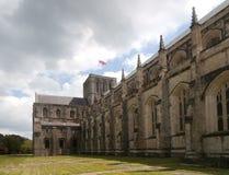 Exterior da torre e do transepto da nave da catedral de Winchester Fotografia de Stock Royalty Free