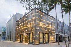 Exterior de la tienda de Bulgari en el Midtown Miami Foto de archivo libre de regalías