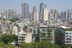 Exterior de los edificios residenciales céntricos de Macao en Macao, China Imagen de archivo libre de regalías