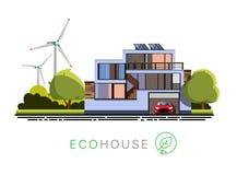 Exterior de un edificio del ecohouse stock de ilustración