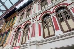Exterior de Windows y del exterior del estilo de Singapur y de Malasia fotografía de archivo libre de regalías