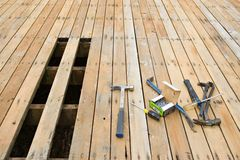 Exterior deck repair Stock Image
