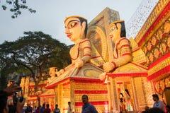 Exterior of decorated Durga Puja pandal, at Kolkata, West Bengal, India. Stock Photography