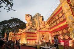 Exterior of decorated Durga Puja pandal, at Kolkata, West Bengal, India. Royalty Free Stock Photos