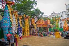 Exterior of decorated Durga Puja pandal, at Kolkata, West Bengal, India. Stock Image
