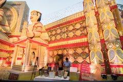 Exterior of decorated Durga Puja pandal, at Kolkata, West Bengal, India. Royalty Free Stock Photo