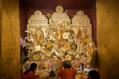 Exterior of decorated Durga Puja pandal, at Kolkata, West Bengal, India. Royalty Free Stock Photography