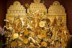Exterior of decorated Durga Puja pandal, at Kolkata, West Bengal, India. Stock Photos