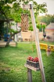 Exterior decoration - a wicker garden lantern and a flower pot on a wooden stand. Royalty Free Stock Photo