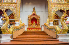 Exterior decorations of stairway and entrance of Wat Pha Sing Stock Images