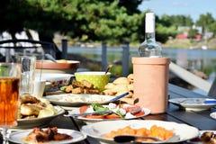 Exterior del almuerzo del verano en Suecia fotos de archivo libres de regalías
