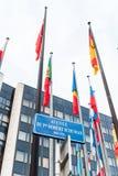 Exterior del Consejo de Europa con toda la sindicalista europea Fla Fotografía de archivo