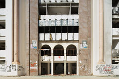 Exterior of the Democratic Constitutional Rally party building ruined during the Arab spring Royalty Free Stock Photo