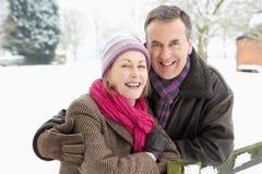 Exterior derecho de los pares mayores en el paisaje Nevado Fotografía de archivo libre de regalías