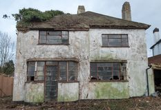 Exterior of derelict house built in 1930s deco style, Rayners Lane, Harrow UK