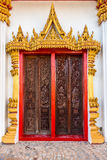 Exterior design in religion art of the Buddhist temple doors Royalty Free Stock Images