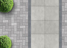 Exterior detail from above. Exterior detail in aerial view with permeable paving vector illustration