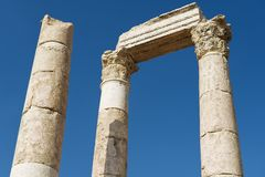 Exterior detail of the ancient stone columns at the Citadel of Amman in Amman, Jordan. Stock Photos