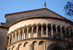 Exterior detail of the apse of the cathedral sunlit Midmorning in Lodi in Lombardy (Italy) Stock Photo
