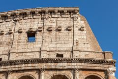 Exterior Detail of Coliseum, Colosseum in Rome, Italy stock photo
