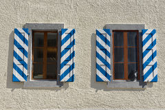 Exterior detail of the historical building in downtown Bex, Switzerland. Stock Photos