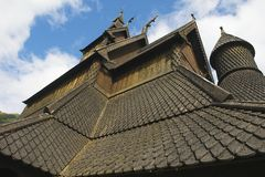 Exterior detail of the Hopperstad stave church in Vik, Norway. Royalty Free Stock Photos