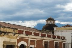 Exterior detail of house in La Antigua Guatemala, wall and cupula colonial style in Guatemala, Central America. royalty free stock photography