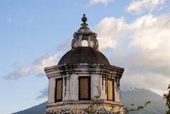 Exterior detail of house in La Antigua Guatemala, wall and cupula colonial style in Guatemala, Central America. royalty free stock images