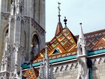 Exterior detail of the Matthias Church in Budapest, famous landmark stock photo