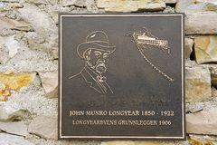 Exterior detail of the memorial to John Munro Longyear in Longyearbyen, Norway. Stock Images