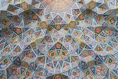 Exterior detail of the Nasir al-Mulk mosque in Shiraz, Iran. stock images