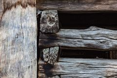 Exterior detail of old wood barn beams, stacked and notched royalty free stock photos