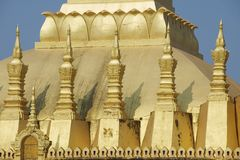Exterior detail of the Pha That Luang stupa in Vientiane, Laos. Royalty Free Stock Images
