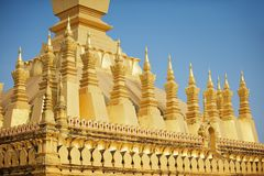 Exterior detail of the Pha That Luang stupa in Vientiane, Laos. Stock Photo