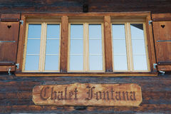 Exterior detail of the traditional wooden chalet in Murren, Switzerland. Royalty Free Stock Photography
