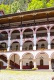 Exterior details of famous Rila Monastery, Bulgaria Royalty Free Stock Photo