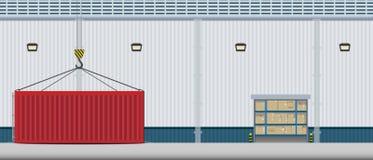 Exterior do armazém com recipiente ilustração stock