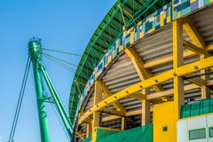 Exterior do estádio Jose Alvalade Estádio home para o Clube ostentando de Portugal fotos de stock royalty free