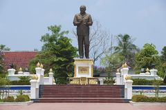 Exterior do monumento ao primeiro presidente do Sr. de Lao People's Democratic Republic Supanuvong fotos de stock royalty free