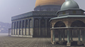 Exterior of the Dome of the Rock in Jerusalem. A 3D rendered image of the Dome of the Rock in Jerusalem. You see the exterior of the arabic temple with its azure vector illustration