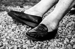 Exterior exterior dos pés da terceira idade fotos de stock