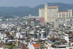 Exterior of the downtown Macau residential buildings in Macau, China. Royalty Free Stock Images
