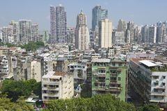 Exterior of the downtown Macau residential buildings in Macau, China. Royalty Free Stock Image