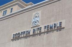 Exterior e logotipo escoceses do templo do rito fotos de stock