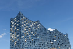 Exterior of the Elbphilharmonie, Harbor City, Hamburg, Germany. View of abstract glass facade new Elbphilharmonie concert hall nearing completion on River Elbe Royalty Free Stock Images
