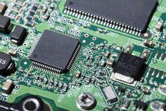 Hard Drive Electronic Board. The exterior electronics of a hard drive Royalty Free Stock Photography