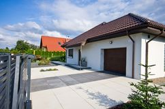 Exterior of a modern house with elegant architecture Royalty Free Stock Image