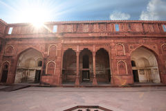 Exterior elements in courtyard of Agra Fort Royalty Free Stock Photo